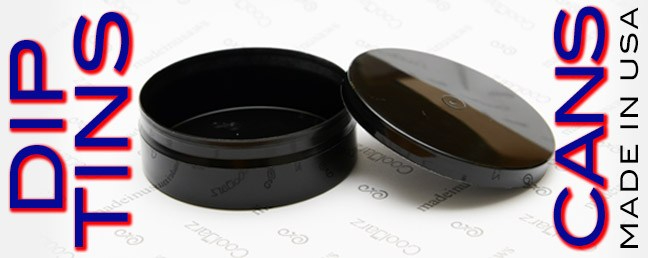 Buy black plastic dip cans and tins made in the USA